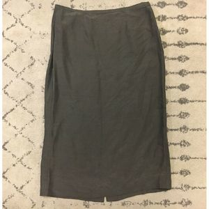 Eileen Fisher Gray 100% Silk Long Skirt